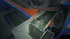 Recycling facility glass with assembly line and moving glass in slow motion Stock Footage