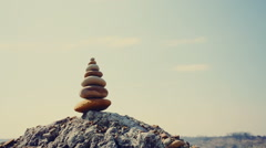 Stones balance, stability concept on rocks Stock Footage