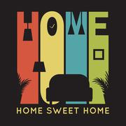 Home card with apartment icons, t-shirt graphics on black background - stock illustration