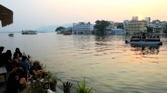 Rajasthan Udaipur Lake Pichola India people sunset - stock footage