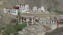 Lamayuru Monastary from above,Lamayuru,Ladakh,India Stock Footage