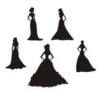 Bride silhouettes set - stock illustration