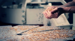 0646 Adult man hands working on grains over a millstone - stock footage