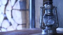 Old kerosene lamp Stock Footage