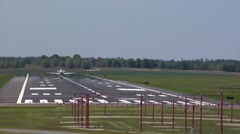 Airplane-20 jet, commercial quick takeoff, rearview Stock Footage