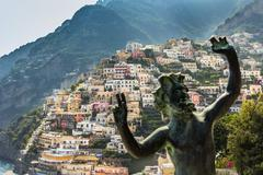 Positano Amalfi Coast in Italy - stock photo