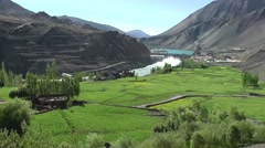 Wider view of Alchi Dam and lake,Alchi,Ladakh,India Stock Footage