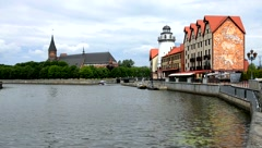 The river Pregel in Kaliningrad Stock Footage