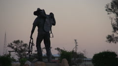 Stockmans Hall Of Fame Statue Longreach At Sunset EDIT Stock Footage
