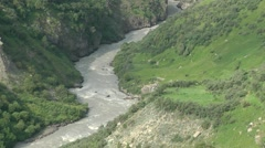 River in valley,Keylong,Ladakh,India Stock Footage
