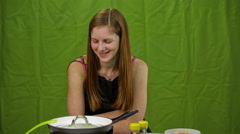 Female cook smiling in to camera Stock Footage