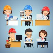 Engineers Cartoon Characters at the Table Set Stock Illustration