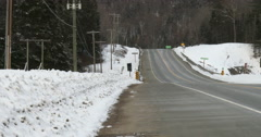 View of empty highway 60 in Algonquin Provincial Park Stock Footage