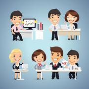 Managers Cartoon Characters at the Table Set - stock illustration