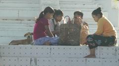 People preparing barbeque chicken,Bago,Burma Stock Footage