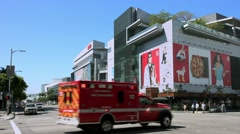 4K, UHD, Fire truck emregency response in Los Angeles Downtown, California Stock Footage