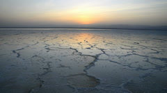 Sunset at the Lake Assal, salt lake in the Danakil Depression, Ethiopia, Africa Stock Footage