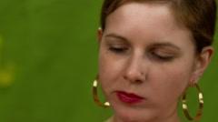 Beautiful woman face eating close up - stock footage