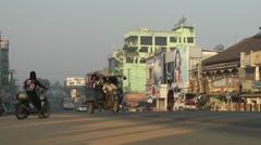 Main street with traffic,Bago,Burma Stock Footage