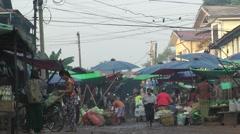 Market,Bago,Burma Stock Footage