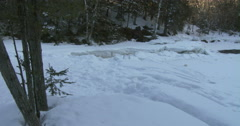 Small frozen pond in Algonquin Provincial Park Stock Footage