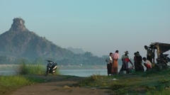 A foodstall near the river,Hpa-An,Burma Stock Footage
