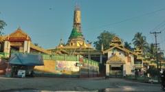 Pagoda near river,Hpa-An,Burma Stock Footage