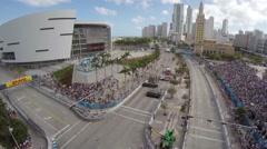 Aerial Shot of Formula E Cars - stock footage