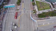 Aerial Shot of Formula E Cars Turning - stock footage