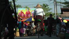 Stock Video Footage of The market with rickshaws,Hpa-An,Burma