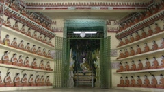 Inside temple with many Budha statues,Hpa-An,Burma Stock Footage