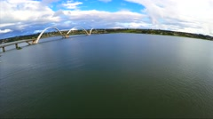 Aerial View of Juscelino Kubitschek Bridge in Brasilia the capital of Brazil Stock Footage