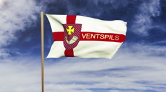Ventspils flag with title waving in the wind. Looping sun rises style Stock Footage