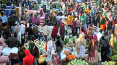 Rajasthan Udaipur India Asia market fruit agriculture people Stock Footage