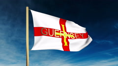 Guernsey flag slider style with title. Waving in the wind with cloud background Stock Footage