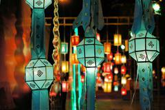Yee Peng lantern festival in Chiang Mai Thailand Stock Photos