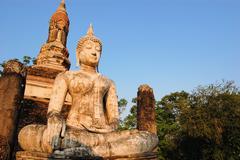 Ancient buddha statue. Sukhothai Historical Park Stock Photos