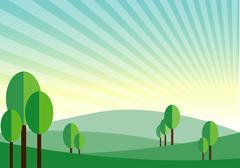 green land mountain sunshine vector background - stock illustration