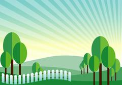 Green land mountain vector background Stock Illustration