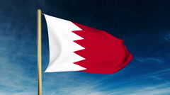 Bahrain flag slider style. Waving in the win with cloud background animation Stock Footage