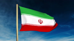 Iran flag slider style. Waving in the win with cloud background animation Stock Footage