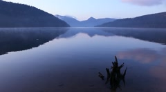 Calm lake surface, Hokkaido, Japan Stock Footage