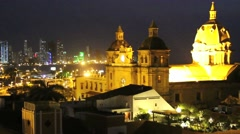 Cartagena, Colombia night time lapse. Timelapse Stock Footage