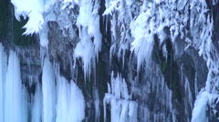 Frozen Furepe waterfall, Hokkaido, Japan Stock Footage