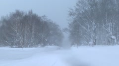 Country road covered in snow, Aomori Prefecture, Japan Stock Footage