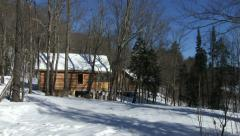 Cottages in winter in Algonquin Provincial Park Stock Footage