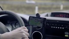 Stock Video Footage of GPS navigation on smartphone showing route 4K