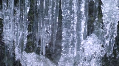 Water stream and icicles, Aomori Prefecture, Japan Stock Footage