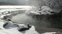 Water stream and snow, Hokkaido, Japan Stock Footage