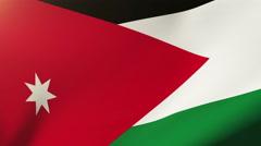 Jordan flag waving in the wind. Looping sun rises style.  Animation loop Stock Footage